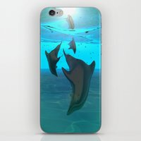 dolphins iPhone & iPod Skins featuring Dolphins by tvoneiro