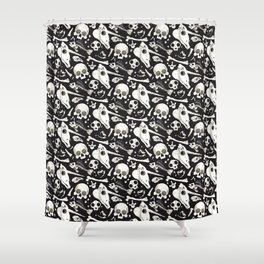 black Skulls and Bones - Wunderkammer Shower Curtain