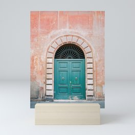 Turquoise Green door in Trastevere, Rome. Travel print Italy - film photography wall art colourful. Mini Art Print