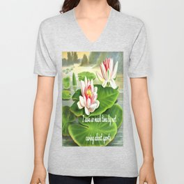 I Save So Much Time By Not Caring About Sports (Water Lilies Version) Unisex V-Neck