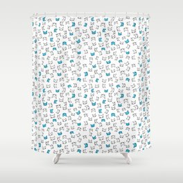 cool blue kitties Shower Curtain