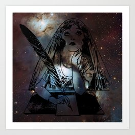 Galaxy Gypsy Writing a Letter to the Cosmos Art Print