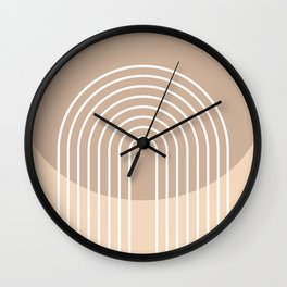 Geometric Lines in Beige and Brown Shades (Rainbow Abstraction) Wall Clock