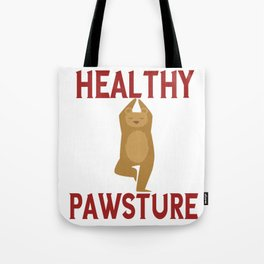 Healthy Pawsture Bear Doing Yoga Tote Bag