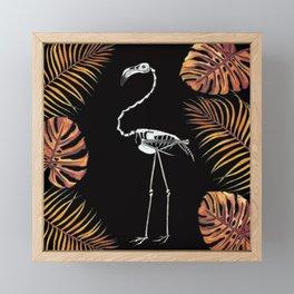 Florida Fall Flamingo Skeleton Framed Mini Art Print