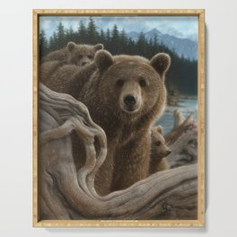 Brown Bear With Cubs - Backpacking Serving Tray