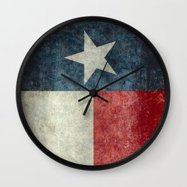 Texas state flag, vintage banner Wall Clock