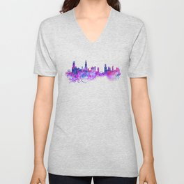 Chicago Watercolor Skyline 2 Unisex V-Neck