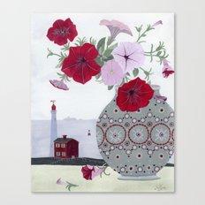 Petunias and Seascape Canvas Print
