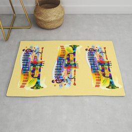 Abstract colorful music instrument painting.Trumpet, piano, musical notes, color splash, treble clef Rug
