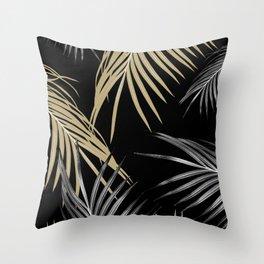 Gold Gray Palm Leaves Dream #1 #tropical #decor #art #society6 Throw Pillow