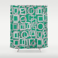 frames Shower Curtains featuring picture frames aplenty green by Sharon Turner