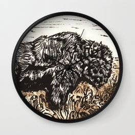 Buffalo's Roam, American Bison Wildlife Black White Gold Linocut Print with Collage Wall Clock