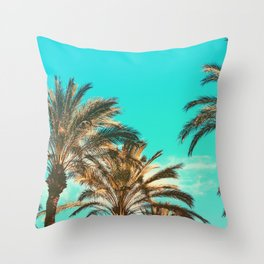 Tropical Palm Trees  - Vintage Turquoise Sky Throw Pillow