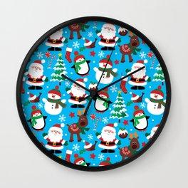 Santa Claus, Snowmen, Reindeer and Christmas Trees Pattern Wall Clock