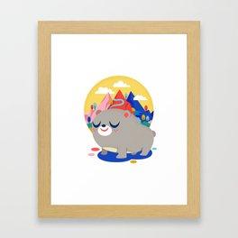 Bear and Mountains Framed Art Print