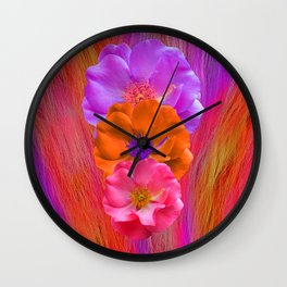 Faux Fur and Flowers Wall Clock