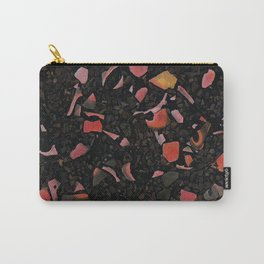 Black terrazzo and orange red Carry-All Pouch