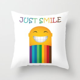 Just Smile Rainbow-Liked Design Throw Pillow