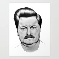 swanson Art Prints featuring Ron Swanson by 13 Styx