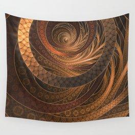 Earthen Brown Circular Fractal on a Woven Wicker Samurai Wall Tapestry