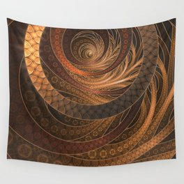 Earthen Brown Circular Fractal on a Woven Wicker Samurai Wall Tapestry