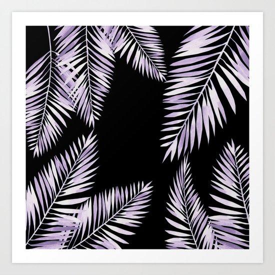Watercolor tropical palm leaves purple Art Print