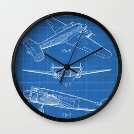 Lockheed Airplane Patent - Electra Aeroplane Art - Blueprint Wall Clock