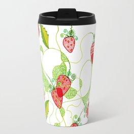 Patterned Strawberries Travel Mug