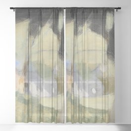 11,000px,600dpi-Helene Schjerfbeck - The Old Brewery, Composition - Digital Remastered Edition Sheer Curtain