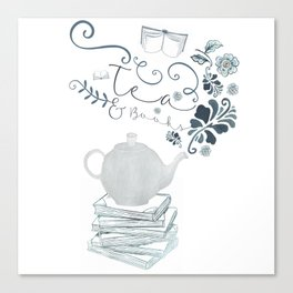 Tea and Books Canvas Print