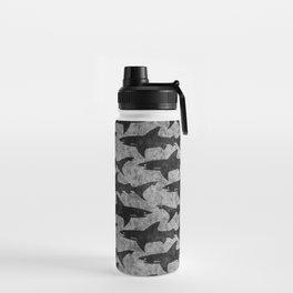 Gray and Black Shark Pattern Water Bottle