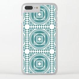 Mediterranean Pattern 4 - Tile Pattern Designs - Geometric - Teal - Ceramic Tile - Surface Pattern Clear iPhone Case