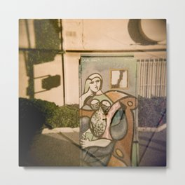 Woman on Electrical Box with Toy Horse  Metal Print