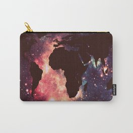 World Map : Mauve Teal Galaxy Stars Carry-All Pouch
