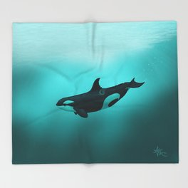 """""""Lost in Paradise"""" by Amber Marine ~ Killer Whale ~ Orca ~ Original Version ~ (Copyright 2015) Throw Blanket"""