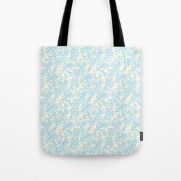 Vintage retro ivory blue shabby floral damask pattern Tote Bag