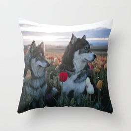 Floral Brothers Throw Pillow