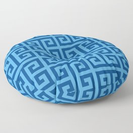 Denim and Bright Blue Greek Key Pattern Floor Pillow