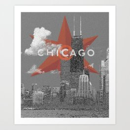 Chicago Lakefront - Grey - Star Art Print