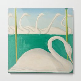 Untitled, Swans and Lilies by Joseph Stella Metal Print
