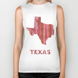 Texas map outline Indian red stained wash drawing Biker Tank