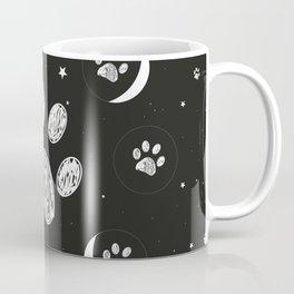 Doodle black paw print and moon phases illustration Coffee Mug