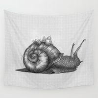 snail Wall Tapestries featuring Snail by Tim Van Den Eynde