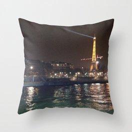 Eiffel Tower at night Throw Pillow