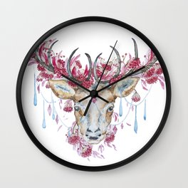 Watercolor Reindeer Wall Clock