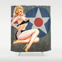 aviation Shower Curtains featuring WWII Nose Art Aviation Vintage Pinup Girl by Pinup Lighters