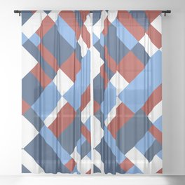 Map 45 Red White and Blue Sheer Curtain