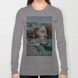 indian portrait double exposure Long Sleeve T-shirt