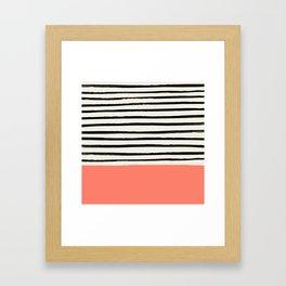Coral x Stripes Gerahmter Kunstdruck